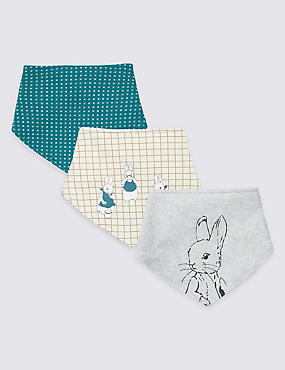 3 Pack Pure Cotton Peter Rabbit™ Bibs, KINGFISHER, catlanding