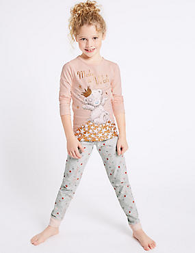 Cotton Pyjamas with Stretch (2-16 Years), PINK MIX, catlanding