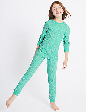 All Over Print Cotton Pyjamas with Stretch (1-16 Years), AQUA MIX, catlanding