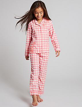 Pure Cotton Checked Pyjamas (1-16 Years), BLUE MIX, catlanding