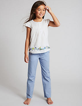Pure Cotton Embroidered Pyjamas (1-16 Years), WHITE MIX, catlanding