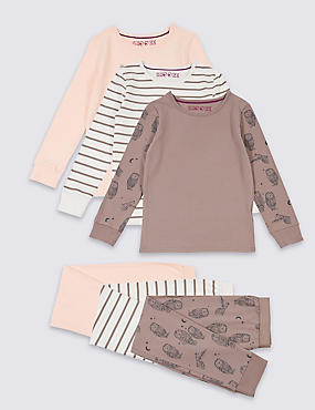 3 Pack Pyjamas with Stretch (3-16 Years), MULTI, catlanding