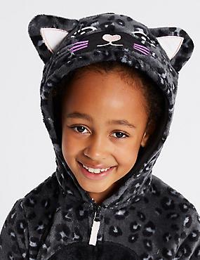 Animal Print Hooded Onesie (1-16 Years), BLACK MIX, catlanding