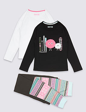 2 Pack Cotton Pyjamas with Stretch (3-16 Years), BLACK MIX, catlanding