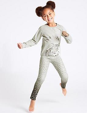 Leopard Print Pyjamas (3-16 Years), GREY MIX, catlanding