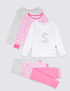 3 Pack Cotton Rich Pyjamas (3-16 Years), PINK MIX, catlanding