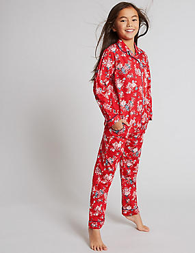 Pure Cotton All Over Print Pyjamas (1-16 Years), RED MIX, catlanding
