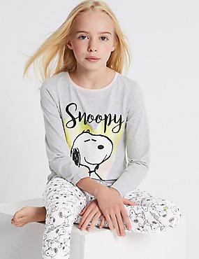 Snoopy™ Pyjamas (6-16 Years), WHITE MIX, catlanding