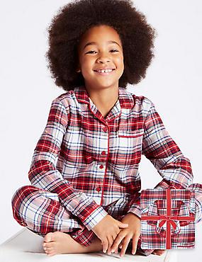 Pure Cotton Checked Pyjamas (1-16 Years), MULTI, catlanding
