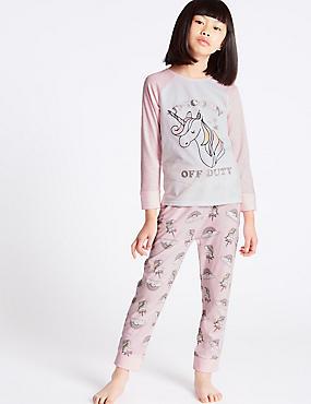 Unicorn Print Long Sleeve Pyjamas (3-16 Years), MEDIUM PINK, catlanding