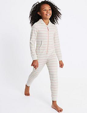 Cotton Rich Striped Hooded Onesie (1-16 Years), OATMEAL, catlanding