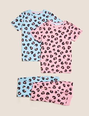 2pk Pure Cotton Animal Print Pyjama Sets (6-16 Yrs)