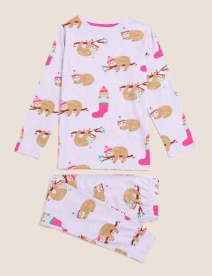 Pure Cotton Sloth Print Pyjamas (6-16 Yrs)