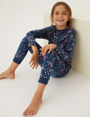Pure Cotton Star Print Pyjamas (6-16 Yrs)