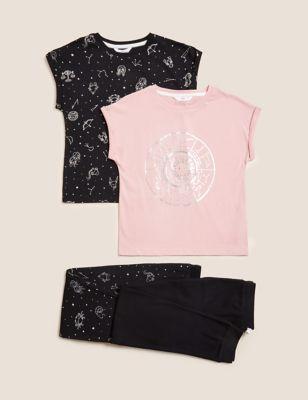 2pk Pure Cotton Astrology Print Pyjama Sets (6-16 Yrs)