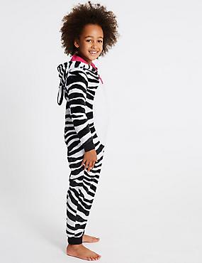 Zebra Print Hooded Onesie (1-16 Years), BLACK MIX, catlanding