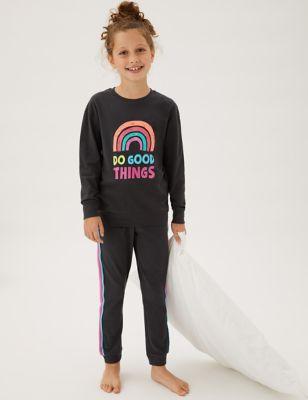 2pk Pure Cotton Rainbow Pyjama Sets (6-16 Yrs)