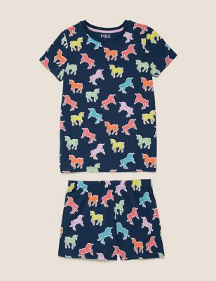 Cotton Unicorn Short Pyjama Set (7-16 Yrs)