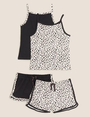 2pk Cotton Leopard Short Pyjama Sets (6-16 Yrs)