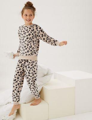 Velour Leopard Lounge Pyjamas (6-16 Yrs)