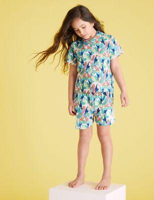Cotton Parrot Print Short Pyjama Set (6-16 Yrs)