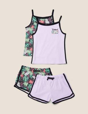 2pk Cotton Printed Short Pyjama Set (6-16 Yrs)