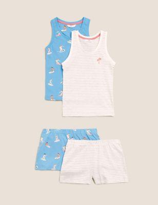 2pk Cotton Surf Print Short Pyjama Sets (6-16 Yrs)
