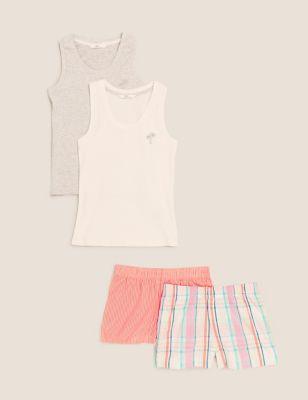 2pk Cotton Patterned Short Pyjama Sets (6-16 Yrs)