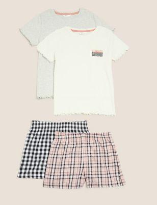 2pk Cotton Checked Short Pyjama Sets (6-16 Yrs)