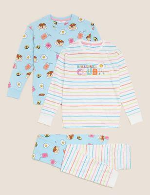 2pk Pure Cotton Breakfast Pyjama Sets (6-16 Yrs)