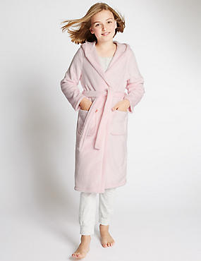Hooded Dressing Gown with Belt (1-16 Years), PINK, catlanding