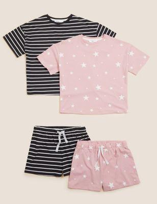 2pk Pure Cotton Printed Short Pyjama Sets (6-16 Yrs)