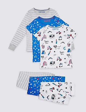 3 Pack Pure Cotton Pyjamas (3-16 Years), WHITE MIX, catlanding