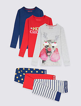 3 Pack Cotton Pyjamas with Stretch (3-16 Years), MULTI, catlanding