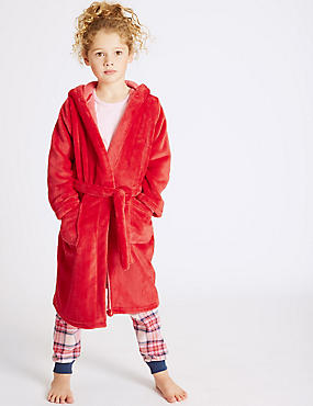 Hooded Dressing Gown with Belt (3-14 Years), RED MIX, catlanding