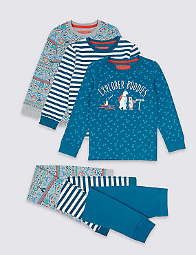 3 Pack Pyjamas (9 Months - 8 Years), TEAL MIX, catlanding