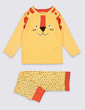 Lion Print Pyjamas (9 Months - 8 Years), YELLOW MIX, catlanding