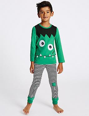 Printed Pyjamas (9 Months - 8 Years), GREEN MIX, catlanding