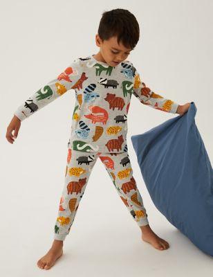 2pk Cotton Woodland Pyjama Sets (1-7 Yrs)