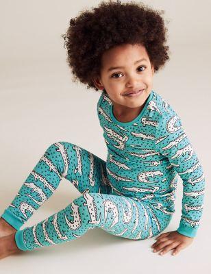 Cotton Crocodile Print Pyjama Set (1-7 Yrs)
