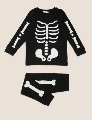 Pure Cotton Glow Skeleton Pyjamas (1-10 Yrs)