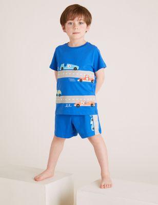 Pure Cotton Car Print Short Pyjama Set (1-7 Yrs)