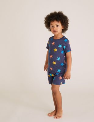 2pk Pure Cotton Rainbow Short Pyjama Sets (1-7 Yrs)