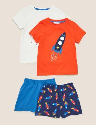 2pk Pure Cotton Patterned Short Pyjama Sets (0-7 Yrs)