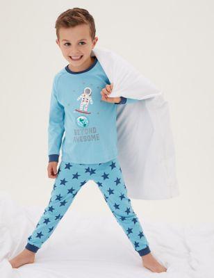 2pk Pure Cotton Astronaut Pyjama Sets (1-7 Yrs)