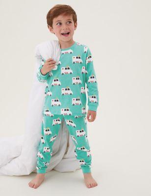 3pk Pure Cotton Transport Pyjama Sets (1-7 Yrs)