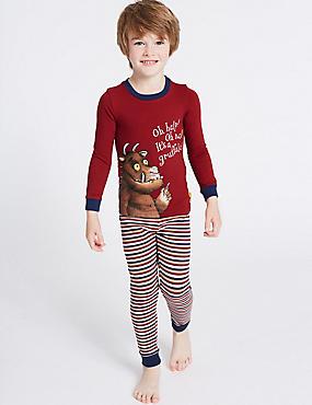 Cotton The Gruffalo™ Pyjamas with Stretch (1-8 Years), REDWOOD, catlanding