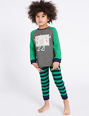 Cotton Rich Pyjamas (9 Months - 8 Years), GREEN MIX, catlanding