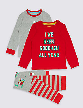 2 Pack Cotton Pyjamas with Stretch (9 Months - 8 Years), RED MIX, catlanding