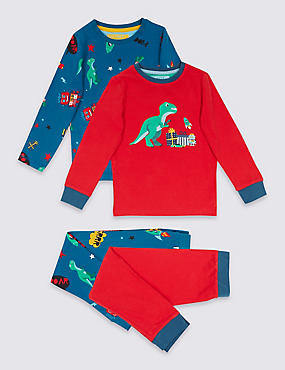 2 Pack Dinosaur Print Cotton Pyjamas with Stretch (9 Months - 8 Years), RED MIX, catlanding